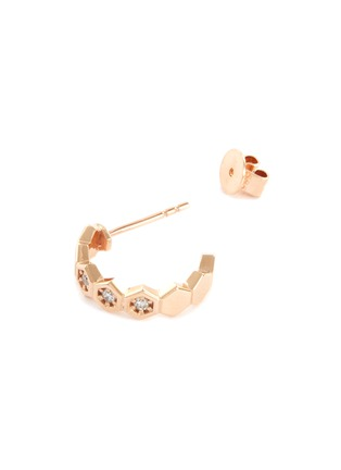 Detail View - Click To Enlarge - BEE GODDESS - Diamond 14k Rose Gold Honeycomb Loop Earrings