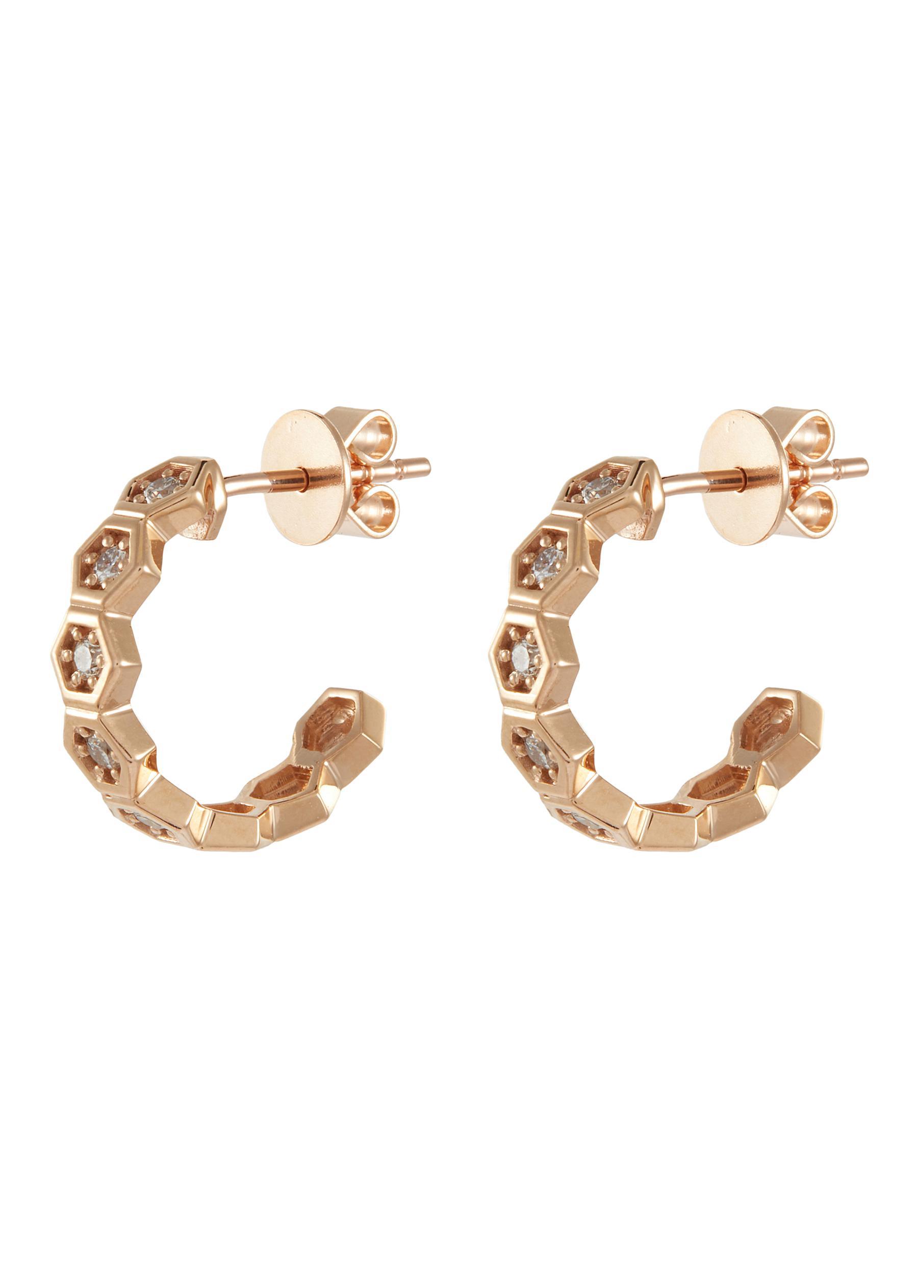 Diamond 14k Rose Gold Honeycomb Loop Earrings - BEE GODDESS - Modalova