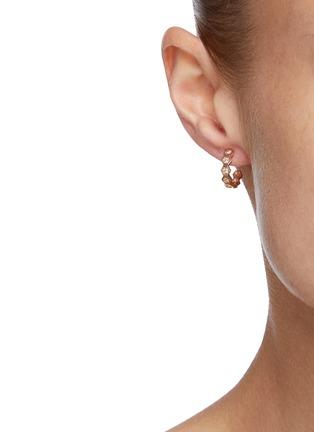 Figure View - Click To Enlarge - BEE GODDESS - Diamond 14k Rose Gold Honeycomb Loop Earrings