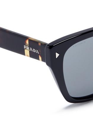 Detail View - Click To Enlarge - PRADA - Stripe tortoiseshell temple acetate sunglasses