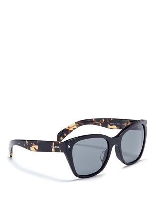 Figure View - Click To Enlarge - PRADA - Stripe tortoiseshell temple acetate sunglasses