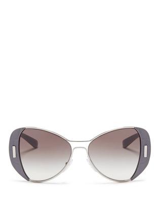 Main View - Click To Enlarge - PRADA - Croc embossed acetate rim metal sunglasses