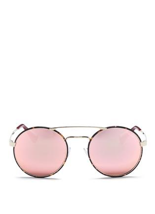 Main View - Click To Enlarge - Prada - Tortoiseshell acetate rim round mirror sunglasses