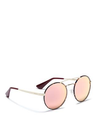 Figure View - Click To Enlarge - Prada - Tortoiseshell acetate rim round mirror sunglasses