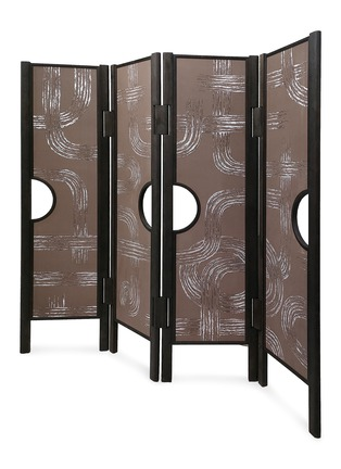 Detail View - Click To Enlarge - ANDRÉ FU LIVING - Art Deco Garden' Charcoal Oak Wood 4-Panel Screen With De Gournay Covering