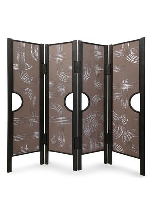 Main View - Click To Enlarge - ANDRÉ FU LIVING - Art Deco Garden' Charcoal Oak Wood 4-Panel Screen With De Gournay Covering