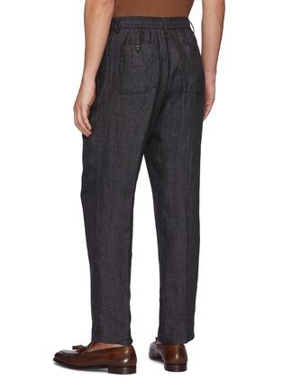 Back View - Click To Enlarge - TOMORROWLAND - Drawstring Waist Straight Leg Linen Pants