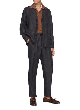 Figure View - Click To Enlarge - TOMORROWLAND - Drawstring Waist Straight Leg Linen Pants