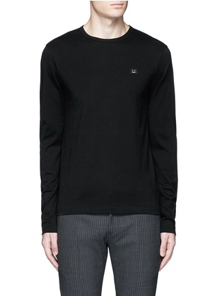Main View - Click To Enlarge - Acne Studios - 'Tage Face' emoji patch cotton T-shirt