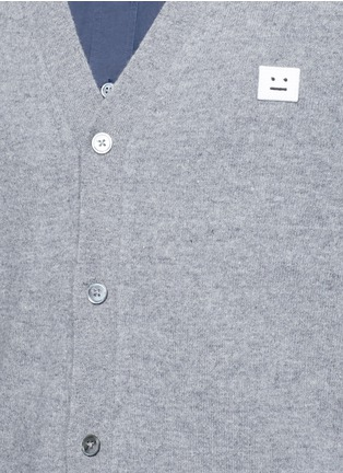 Detail View - Click To Enlarge - Acne Studios - 'Dasher C Face' emoji patch wool cardigan