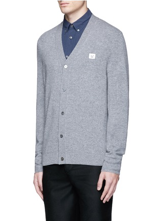 Front View - Click To Enlarge - Acne Studios - 'Dasher C Face' emoji patch wool cardigan