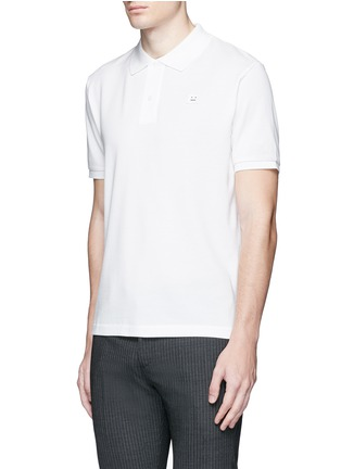 Front View - Click To Enlarge - Acne Studios - Kolby Face' emoji patch cotton polo shirt