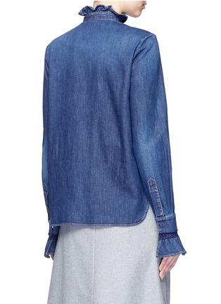 Back View - Click To Enlarge - Stella McCartney - Lace trim ruffle cotton denim shirt