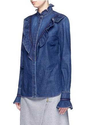 Front View - Click To Enlarge - Stella McCartney - Lace trim ruffle cotton denim shirt