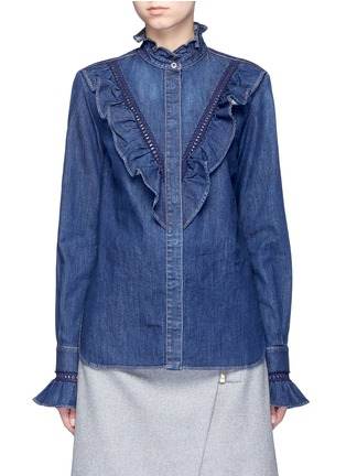 Main View - Click To Enlarge - Stella McCartney - Lace trim ruffle cotton denim shirt