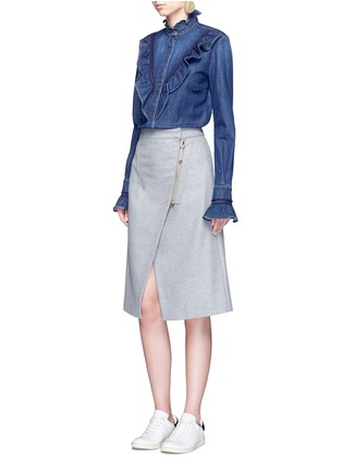 Figure View - Click To Enlarge - Stella McCartney - Lace trim ruffle cotton denim shirt