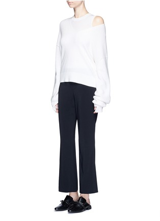 Figure View - Click To Enlarge - Helmut Lang - Elastic waist mock fly flare pants