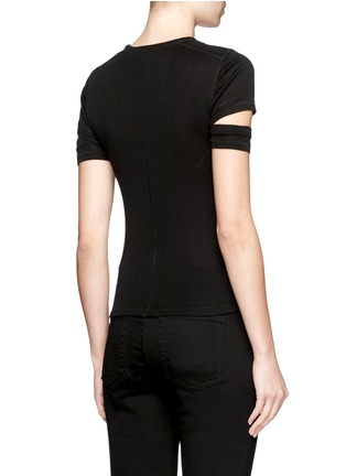 Back View - Click To Enlarge - Helmut Lang - Cutoff sleeve cotton-cashmere T-shirt