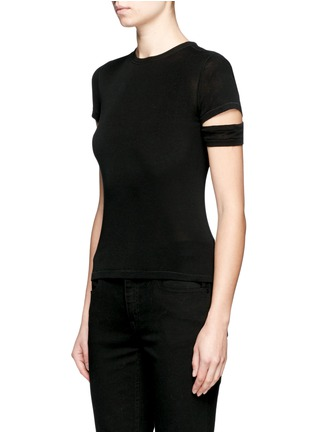 Front View - Click To Enlarge - Helmut Lang - Cutoff sleeve cotton-cashmere T-shirt