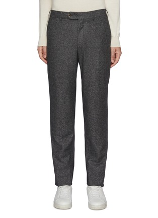 Main View - Click To Enlarge - PT TORINO - Elasticated Waist Micro Donegal Fleece Wool Blend Pants