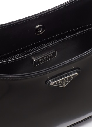 Detail View - Click To Enlarge - PRADA - 'Cleo' Logo Plaque Spazzolato Leather Shoulder Bag