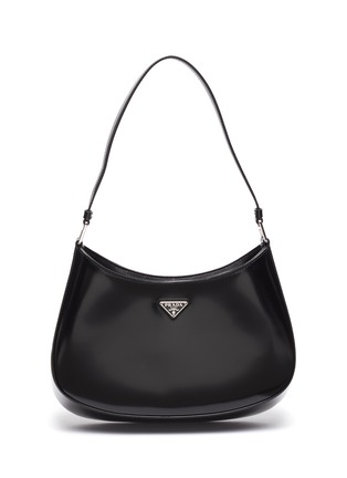 Main View - Click To Enlarge - PRADA - 'Cleo' Logo Plaque Spazzolato Leather Shoulder Bag