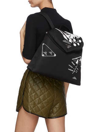 Figure View - Click To Enlarge - PRADA - 'Signaux' Graphic Print Nylon Backpack