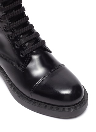 Detail View - Click To Enlarge - PRADA - Spazzolato leather combat boots