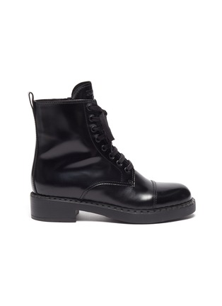 Main View - Click To Enlarge - PRADA - Spazzolato leather combat boots