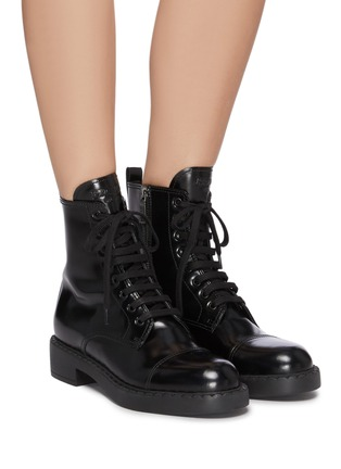 Figure View - Click To Enlarge - PRADA - Spazzolato leather combat boots