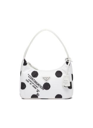 Main View - Click To Enlarge - PRADA - Polka dot print re-nylon top handle bag