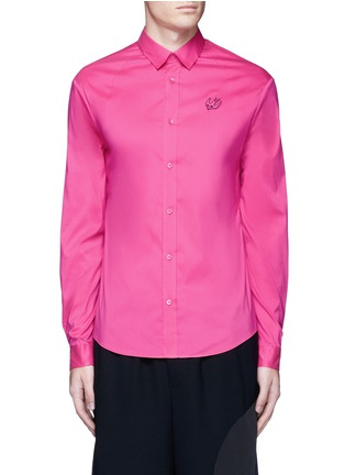 Main View - Click To Enlarge - MCQ ALEXANDER MCQUEEN - Swallow patch harness cotton shirt