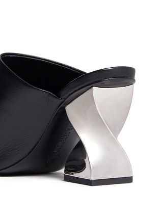 Detail View - Click To Enlarge - Opening Ceremony - 'Dinero' twisted metallic heel cutout leather mules