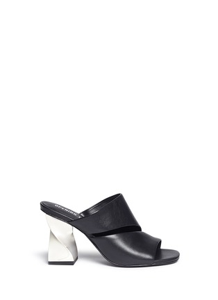 Main View - Click To Enlarge - Opening Ceremony - 'Dinero' twisted metallic heel cutout leather mules