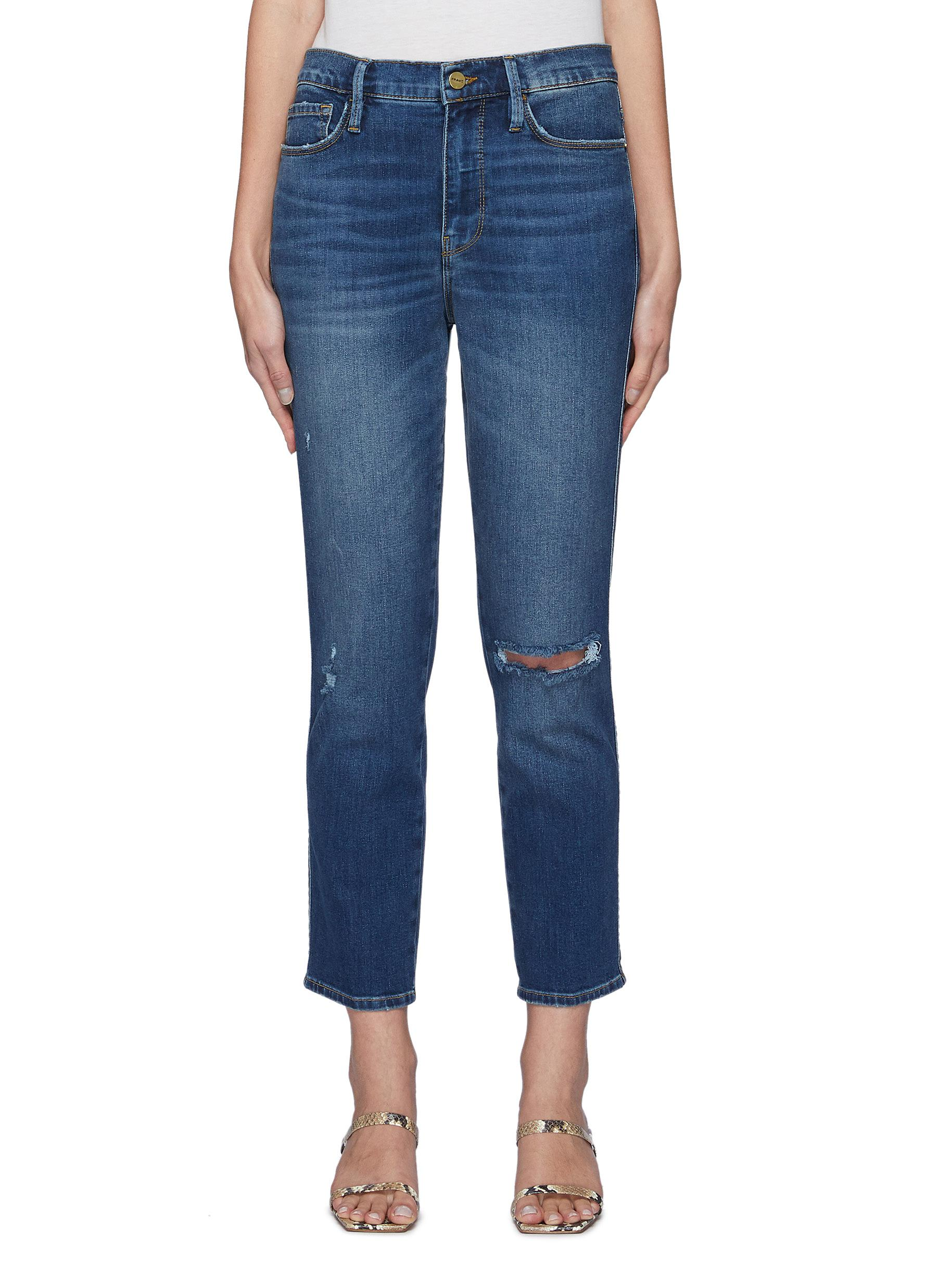Le Sylvie Crop Raw After Knee Hole Purify Slim Straight Jeans