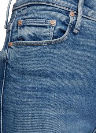 - MOTHER - High Waisted Vamp Fray Slit Medial Med Wash Ankle Skinny Jeans