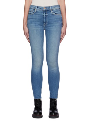 Main View - Click To Enlarge - MOTHER - High Waisted Vamp Fray Slit Medial Med Wash Ankle Skinny Jeans
