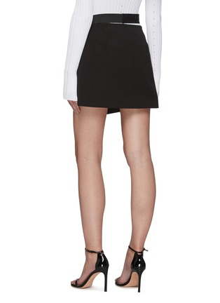 Back View - Click To Enlarge - HELMUT LANG - Belted Cotton Blend Wrap 'Rider' Mini Skirt