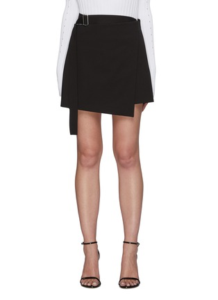 Main View - Click To Enlarge - HELMUT LANG - Belted Cotton Blend Wrap 'Rider' Mini Skirt
