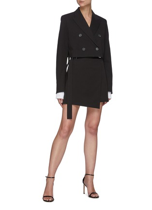 Figure View - Click To Enlarge - HELMUT LANG - Belted Cotton Blend Wrap 'Rider' Mini Skirt