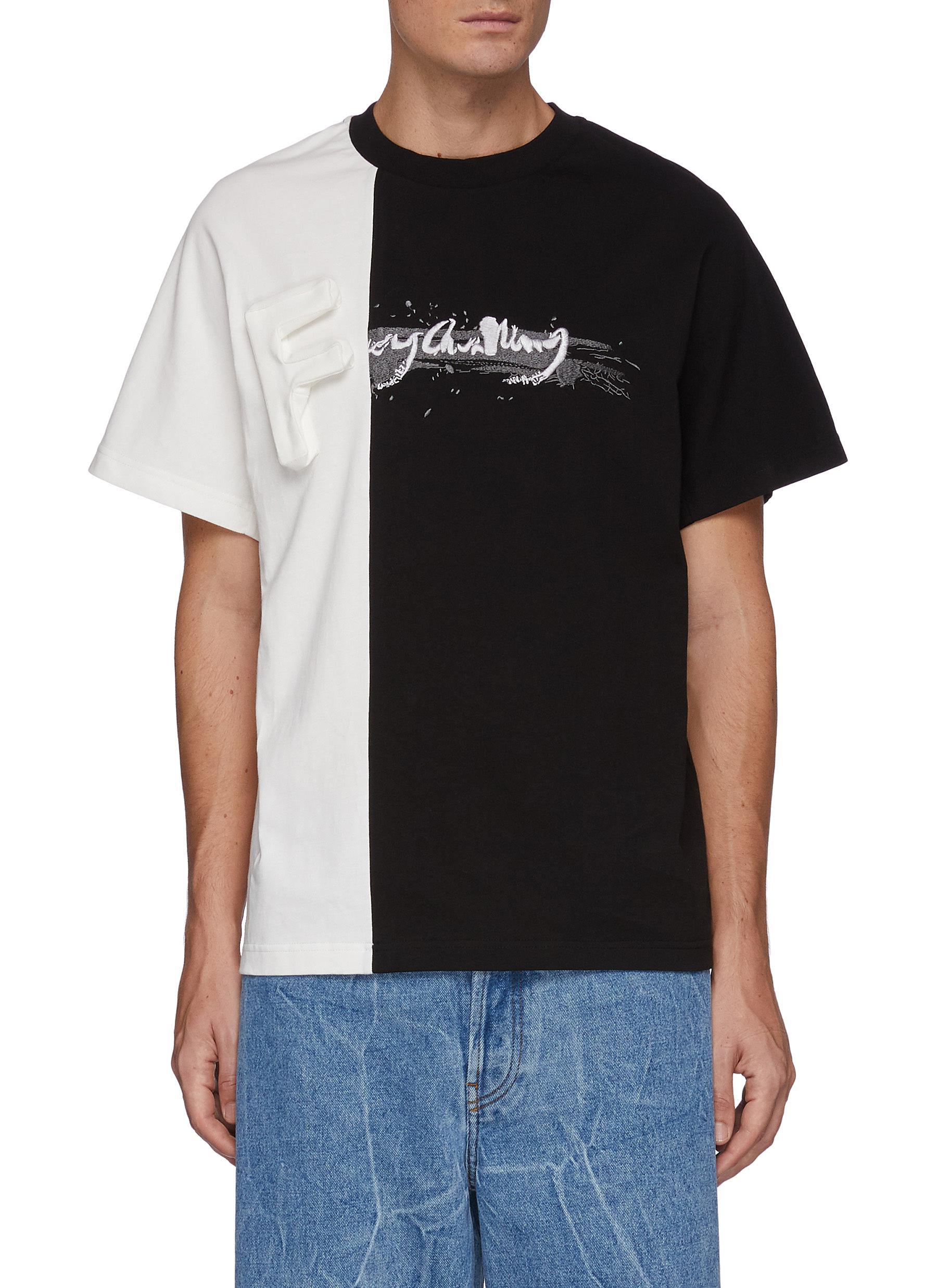 Three Dimensional Logo Panelled Cotton Crewneck T-Shirt