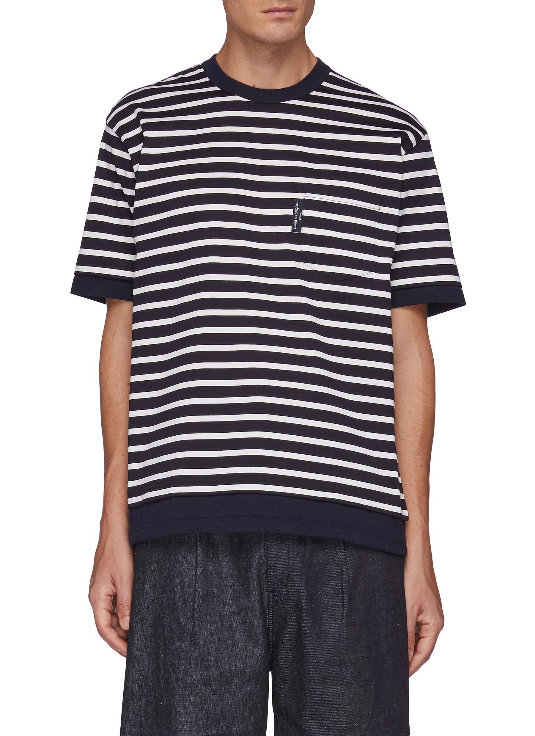 Chest Pocket Striped Cotton Crewneck T-Shirt