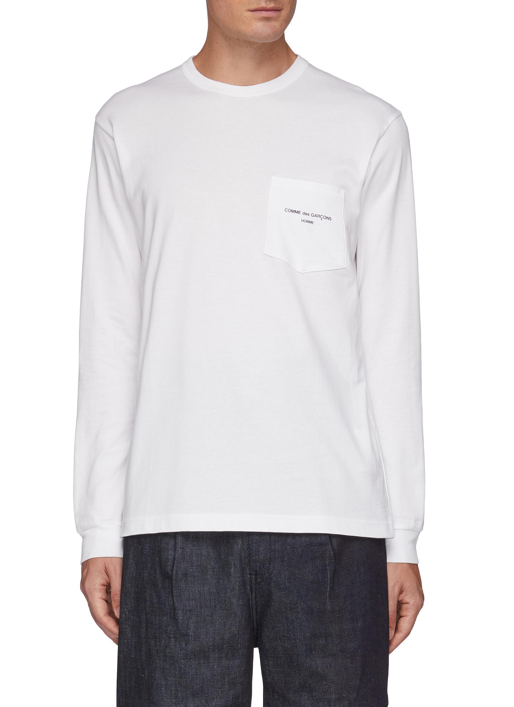 Branding Appliqued Chest Pocket Long Sleeved Crewneck Cotton T-Shirt