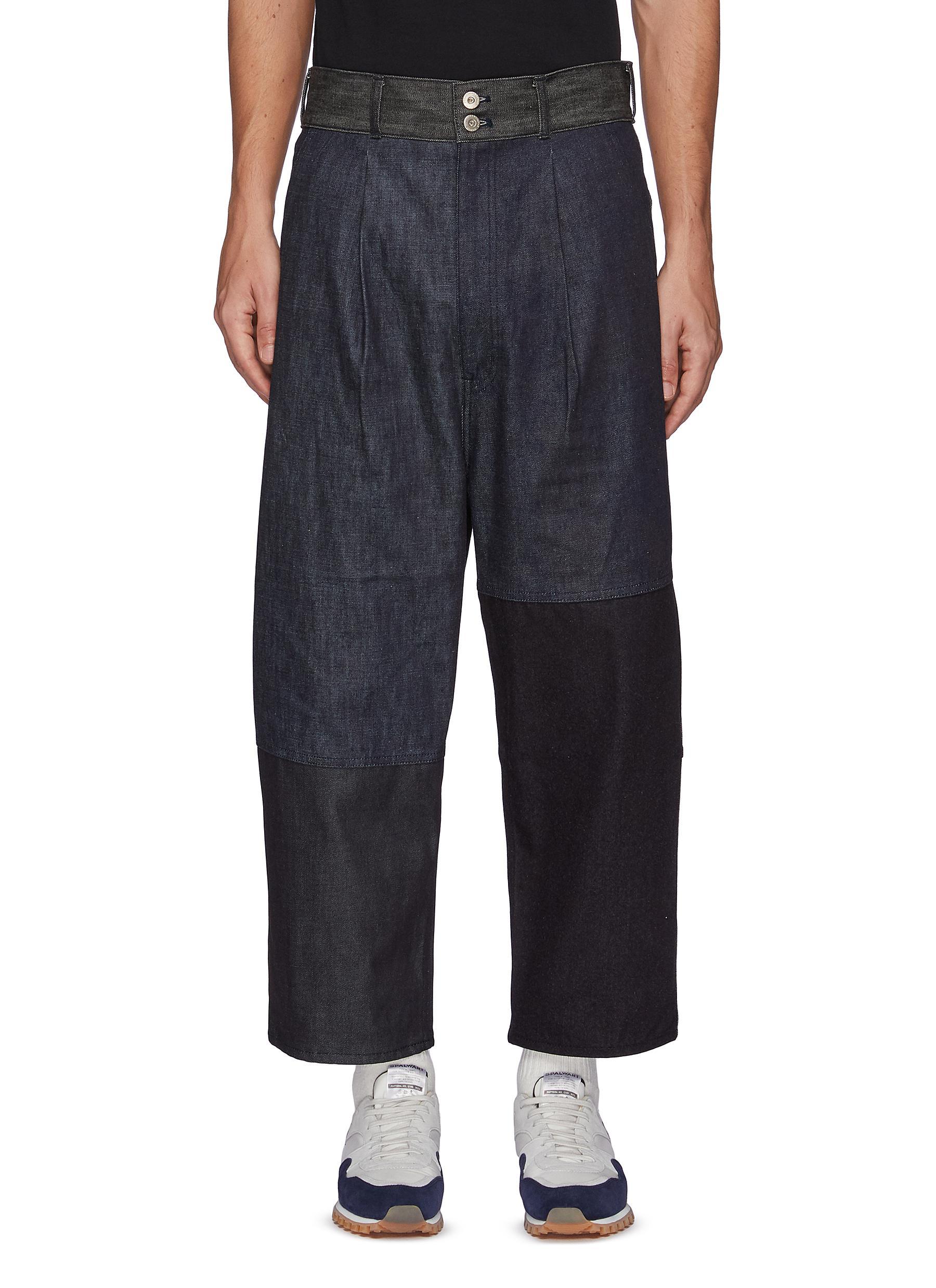 Patchwork Denim Cropped Loose Pants