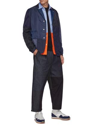 Figure View - Click To Enlarge - COMME DES GARÇONS HOMME - Patchwork Denim Cropped Loose Pants