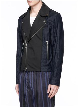 Front View - Click To Enlarge - Dries Van Noten - 'Vale' embellished cotton biker jacket