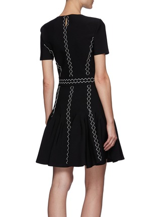 Back View - Click To Enlarge - ALEXANDER MCQUEEN - Crewneck Scallop Mini Dress