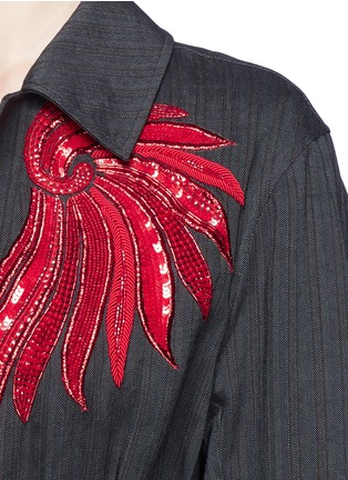 Detail View - Click To Enlarge - Dries Van Noten - 'Reed' fan embroidery cotton-linen blazer