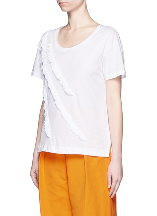 Front View - Click To Enlarge - Dries Van Noten - 'Hazim' diagonal ruffle trim jersey T-shirt