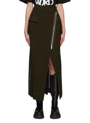 Main View - Click To Enlarge - SACAI - Asymmetrical Front Slit Zip Long Skirt